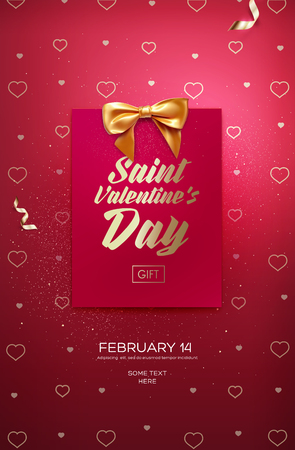 Happy Valentines Day flyer or poster. Top view on greeting card and bow with beautiful backdrop. Vector illustration