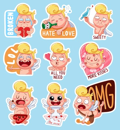 Color set of cupids for Valentines Day. Funny stickers with different emotions. Vector illustration