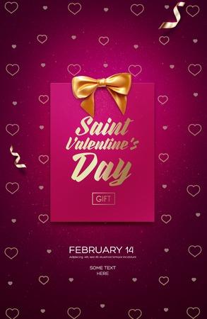 Happy Valentine's Day flyer of poster. Bovenaanzicht op wenskaart en boog met prachtige achtergrond. vector illustratie