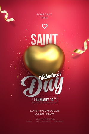 Happy Valentines Day flyer or poster. Top view on golden heart with beautiful red backdrop. Vector illustration