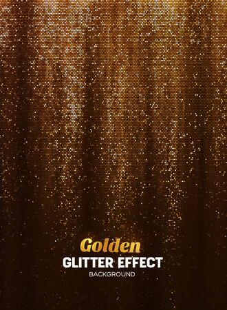 Magic Glitter Background in gold Color. Vector Poster Backdrop with Shine Elements.
