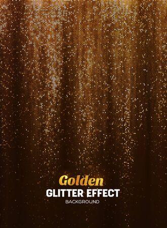 Magische Glitter Achtergrond In Gouden Kleur. Vector Poster Achtergrond Met Shine Elementen.