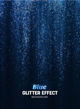 Magic Glitter Background in blue Color. Vector Poster Backdrop with Shine Elements. Ilustração