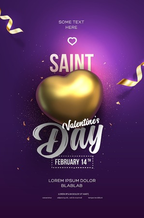 Happy Valentines Day flyer or poster. Top view on golden heart with beautiful purple backdrop. Vector illustration