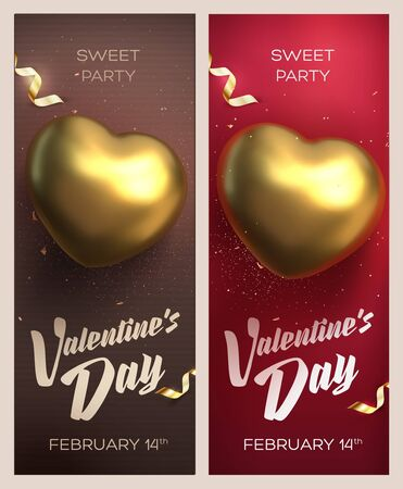 Happy Valentines Day banners. Top view on golden heart with beautiful backdrop. Vector illustration Иллюстрация