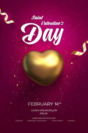 Happy Valentine's Day flyer of poster. Bovenaanzicht op gouden hart met prachtige achtergrond. vector illustratie