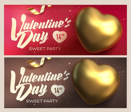 Happy Valentines Day banners. Top view on golden heart with beautiful backdrop. Vector illustration Ilustração