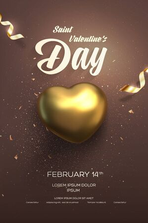 Happy Valentines Day flyer or poster. Top view on golden heart with beautiful backdrop. Vector illustration Иллюстрация