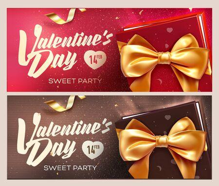 Happy Valentine's Day banners. Bovenaanzicht op geschenkdoos en boog met prachtige achtergrond. vector illustratie