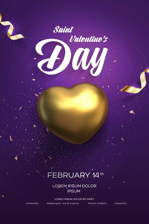 Happy Valentines Day flyer or poster. Top view on golden heart with beautiful backdrop. Vector illustration Ilustração