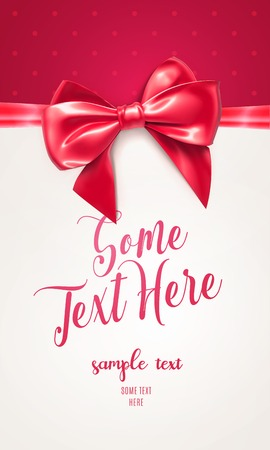 Red Festive greeting card or flyer with bow and ribbon. Vector illustration