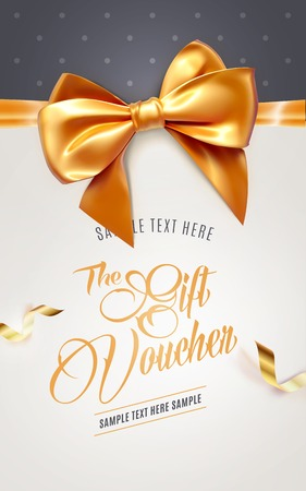 Festive greeting card or flyer with bow and ribbon. Vector illustration