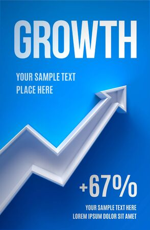 Business presentation layout with 3d arrow growth on a blue background with shadow Ilustrace