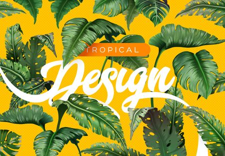Bright tropical background with jungle plants. Exotic pattern with tropical leaves Ilustração