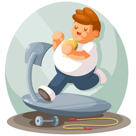 Fat boy jogging, flat cartoon illustration. Sports, active lifestyle, losing weight concept Stok Fotoğraf - 138201302