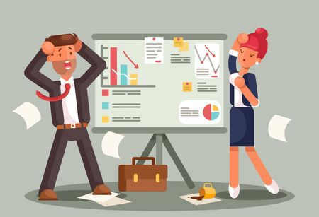 Stressed business people looking at a bad results chart. Business fail. Graph down flat illustration Çizim