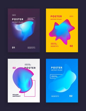 Liquid color covers set. Fluid shapes composition. Futuristic design posters. vector illustration. Illusztráció