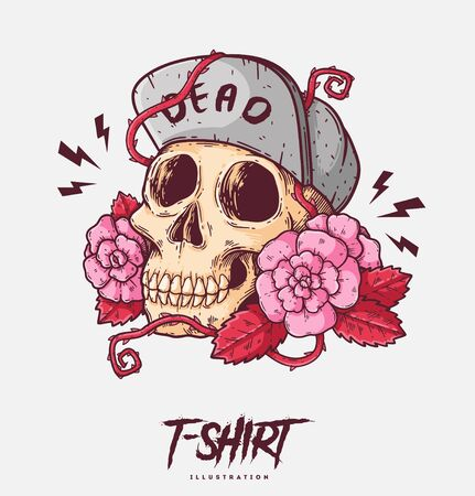 Poster, card or t-shirt print with skull and roses. Trendy hipster style illustration Standard-Bild - 138770633