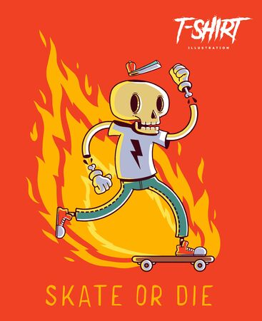 Poster, card or t-shirt print with stylish skeleton skater. Trendy hipster style illustration