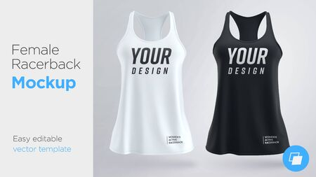 Women s white and black sleeveless tank top. Female active racerback mockup