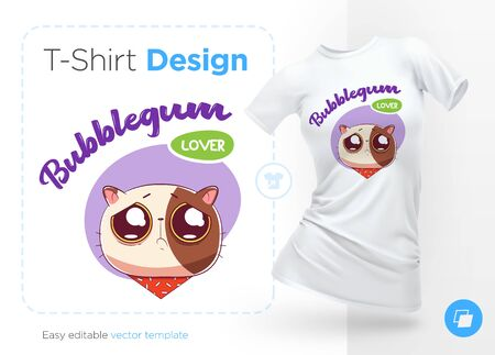Sweet-tooth cat. Print on T-shirts, sweatshirts, cases for mobile phones, souvenirs