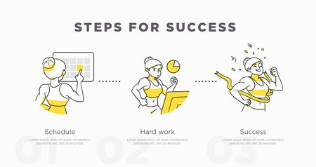 Steps for success. Sport and life achievements and success concept. Vector