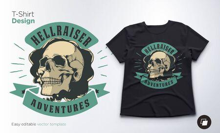 Vintage skull vector emblem. Print for t-shirts, sweatshirts and souvenirs.