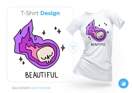 Flying skull t-shirt design. Print for clothes, posters or souvenirs. Vector illustration