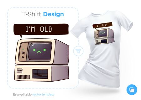 Very old computer t-shirt design. Print for clothes, posters or souvenirs. Vector illustration