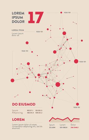 Futuristic infographic. Information aesthetic design. Complex data threads graphic visualization. Abstract data graph. Vector illustration Illustration