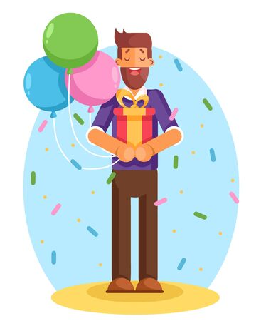 Smiling young man holding gift box with large ribbon as a present. Modern flat style vector illustration