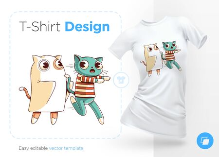 Funny cats playing outdoors . Prints on T-shirts, sweatshirts, cases for mobile phones, souvenirs. Vector illustration.