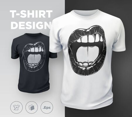 Womans lips t-shirt print. Black and white girls sexy mouth close up. Vector illustration Ilustracja