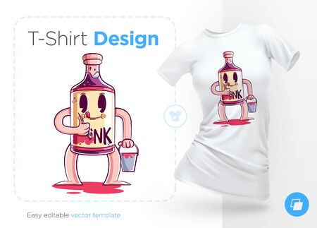 Stylish bottle of alcohol. Print on T-shirts, sweatshirts, cases for mobile phones, souvenirs. Vector illustration on white background.