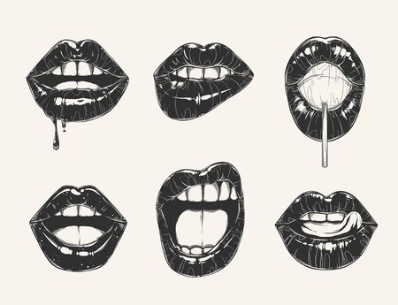 Woman's lip gestures set. Black and white girl's mouths close up different emotions. Vector Illustration Ilustracje wektorowe