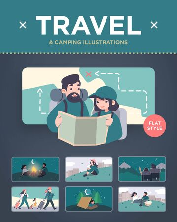 Set of travel, camping and tourism illustrations. Colorful cartoon style