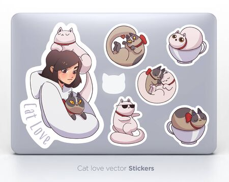 Sticker set with cute girl and cats. Vector illustration Ilustração