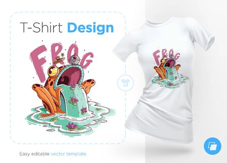 Stylish frog with bird on head. Prints on T-shirts, sweatshirts, cases for mobile phones, souvenirs. Isolated vector illustration on white background.