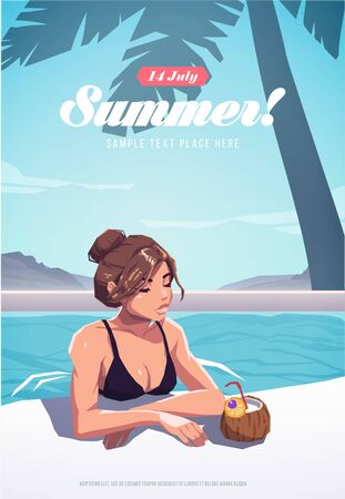 Girl relaxing in the swimming pool. Summer vacation poster or flyer. Vector illustration