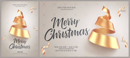 Christmas card or flyer and poster template with golden christmas tree made of ribbon. Vector illustration