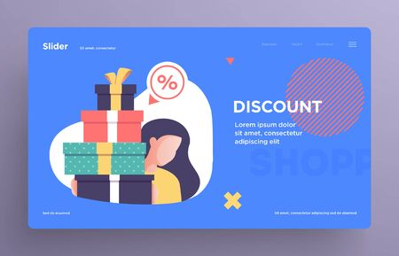 Presentation slide templates or hero banner images for websites, or apps. Shopping concept illustrations. Modern flat style. Vector