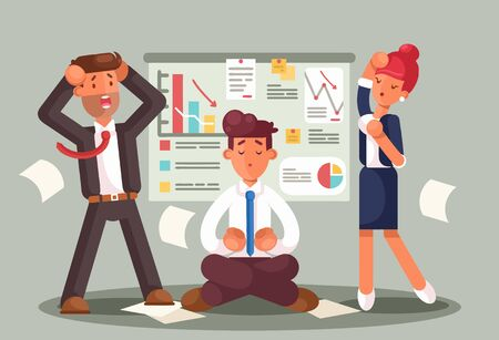 Stressed business people looking at a bad results chart. Business fail. Graph down vector flat illustration