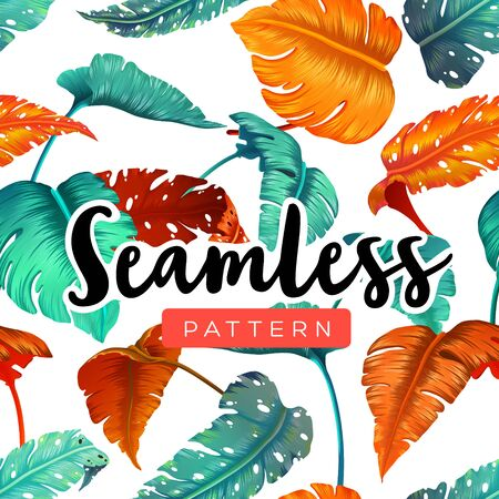 Bright tropical seamless pattern with jungle plants. Exotic background with palm leaves. Vector illustration Ilustração
