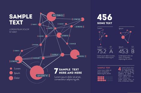 Futuristic infographic. Information aesthetic design. Complex data threads graphic visualization. Abstract data graph. Vector illustration Ilustração