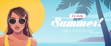 Illustration of girl in a hat on a tropical landscape background. Summer vacation poster or flyer. Vector illustration
