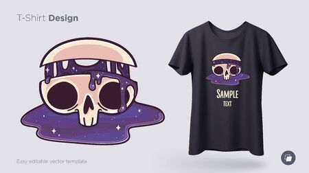 Skull with flowing cosmos t-shirt design. Print for clothes, posters or souvenirs. Vector illustration