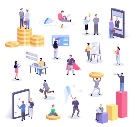 Isometric illustration of office workers and business people working together and mobile devices business management, online communication and finance concept
