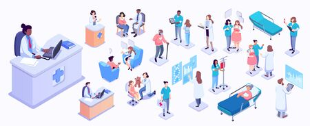 Isometric illustration of medical workers and patients. Hospitals, doctors, patients, reception. healthcare and technology concept Ilustração