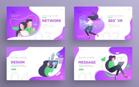 Presentation slide templates or hero pages for websites, or apps. Business concept illustrations. Modern flat style. Vector