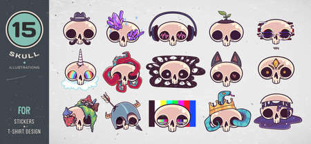 Colorful skull set. Print on T-shirts, sweatshirts, cases for mobile phones, souvenirs. Vector illustration